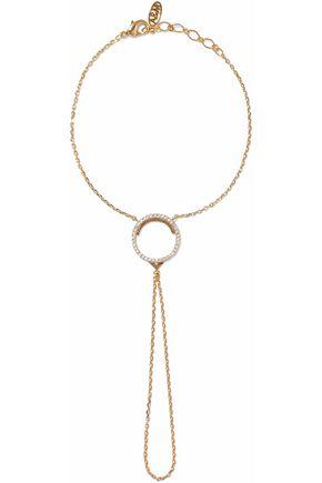 ASTRID & MIYU Fitzgerald Circle gold-tone crystal finger bracelet
