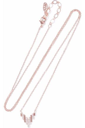 ASTRID & MIYU Fitzgerald Pyramid 18-karat rose gold-plated crystal necklace