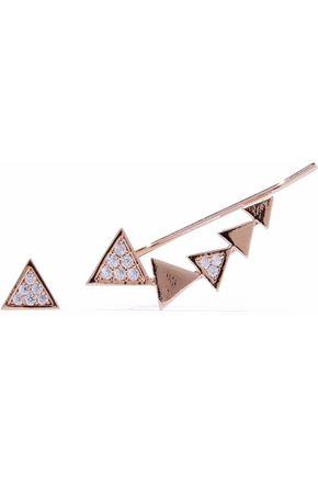 ASTRID & MIYU Black Magic 18-karat rose gold-plated crystal cuff and stud earring