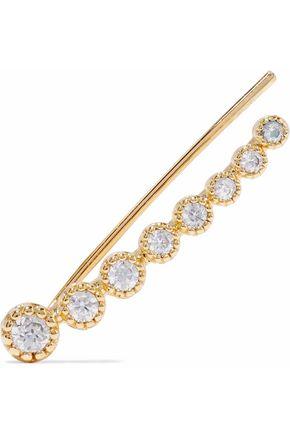 ASTRID & MIYU Snake Charmer 14-karat gold-plated crystal ear cuff