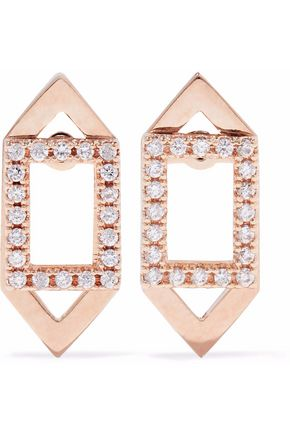 ASTRID & MIYU Fitzgerald Rectangle 18-karat rose gold-plated crystal earrings