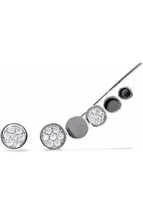 ASTRID & MIYU Black Magic rhodium-plated crystal cuff and stud earring