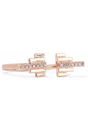 ASTRID & MIYU Fitzgerald Pyramid 18-karat rose gold-plated crystal ring