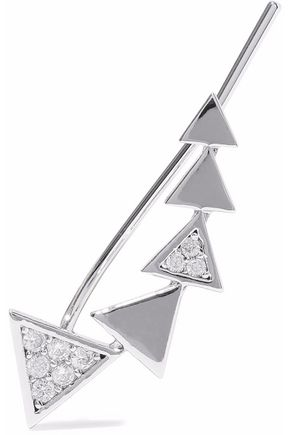 ASTRID & MIYU Black Magic rhodium-plated crystal ear cuff