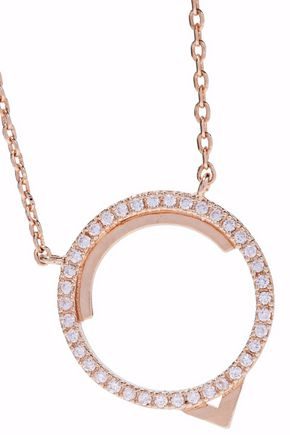 ASTRID & MIYU Fitzgerald Circle 14-karat rose gold-plated crystal necklace