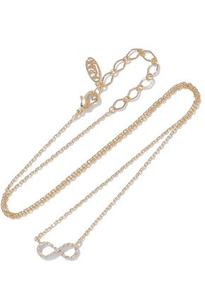 ASTRID & MIYU Infinity 14-karat gold-plated crystal necklace