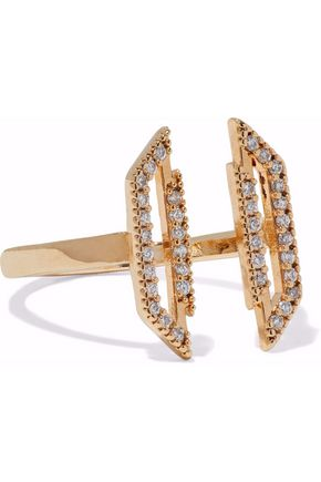 ASTRID & MIYU Fitzgerald Block 14-karat gold-plated crystal ring