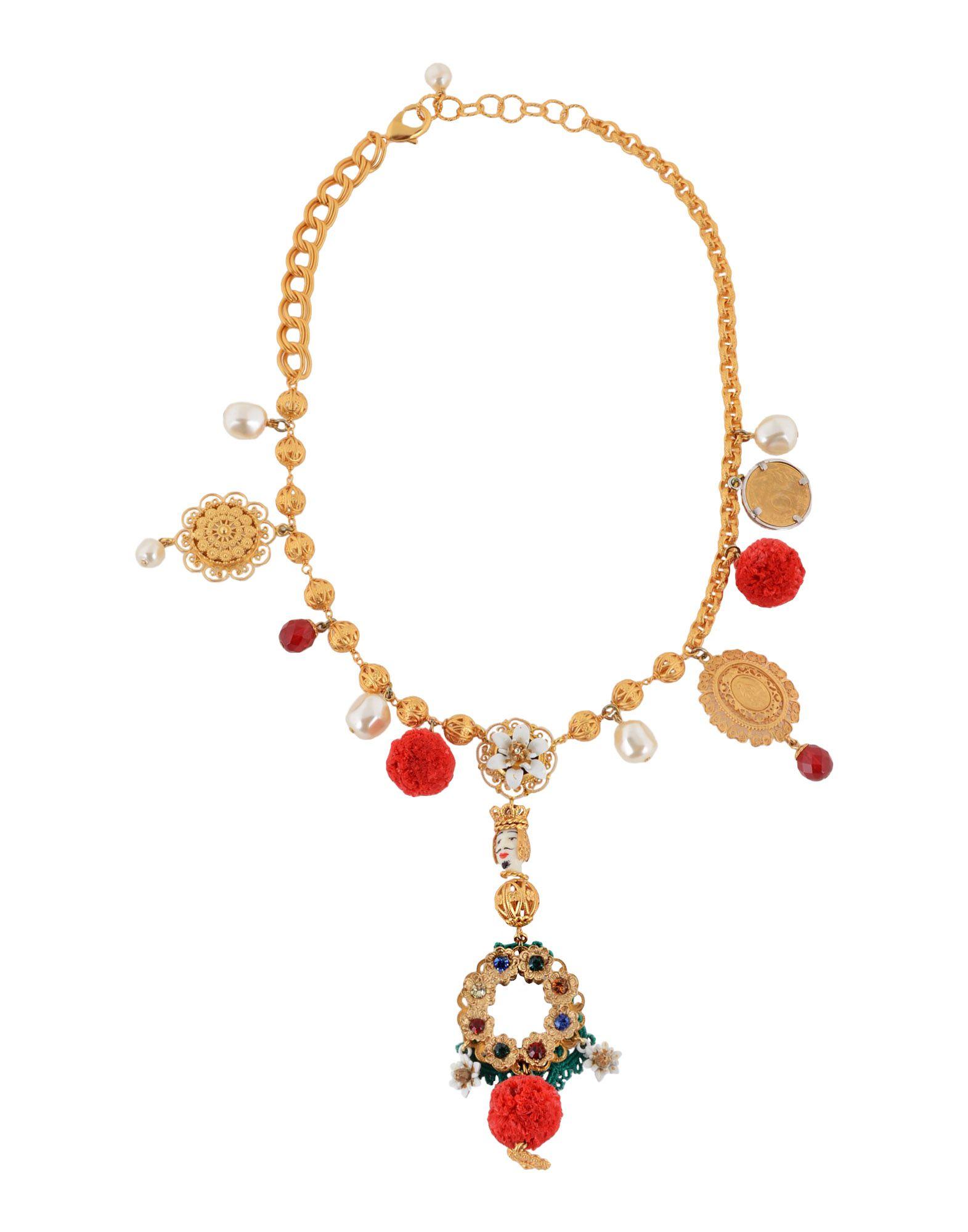 《セール開催中》DOLCE & GABBANA レディース ネックレス ゴールド 真鍮/ブラス / ラフィア / コットン / クリスタル / ガラス