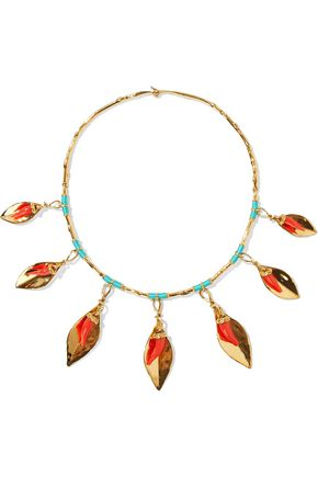 AURÉLIE BIDERMANN Monterosso gold-tone, resin and cord necklace