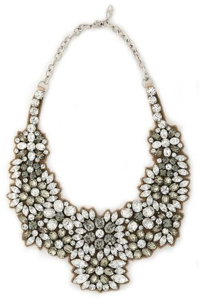 VALENTINO Silver-tone, crystal and satin necklace