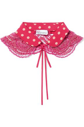 RED(V) Bead-embellished polka-dot silk collar