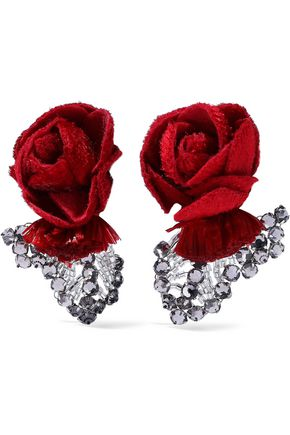 RANJANA KHAN Felt, raffia, crystal and bead clip earrings