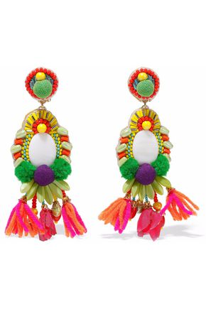 RANJANA KHAN Gold-tone, pompom, bead and tassel clip earrings