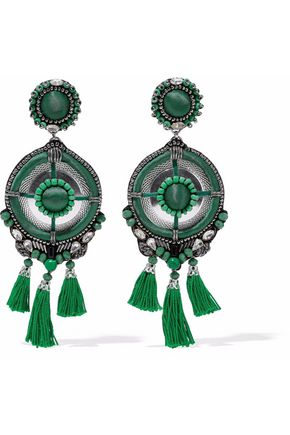 RANJANA KHAN Silver-tone, satin, crystal and tassel clip earrings