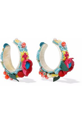 RANJANA KHAN Bead, resin, pompom and crystal hoop earrings