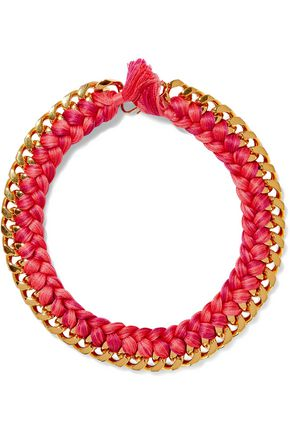 AURÉLIE BIDERMANN Gold-tone braided cord necklace