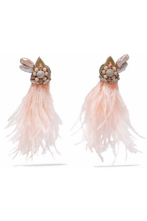 RANJANA KHAN Feathered, crystal, faux pearl, bead and stone clip earrings