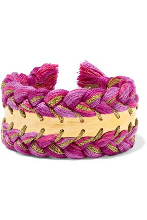 AURÉLIE BIDERMANN Copacabana gold-tone braided cotton cuff