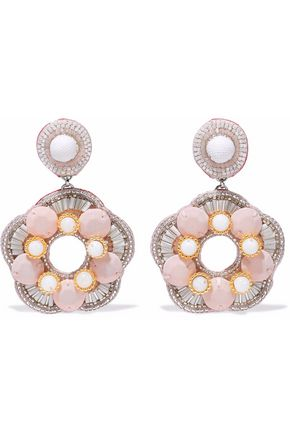 RANJANA KHAN Silver-tone, bead and quartz clip earrings