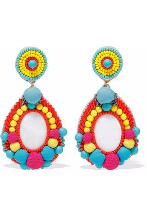 RANJANA KHAN Faux pearl, pompom and bead clip earrings