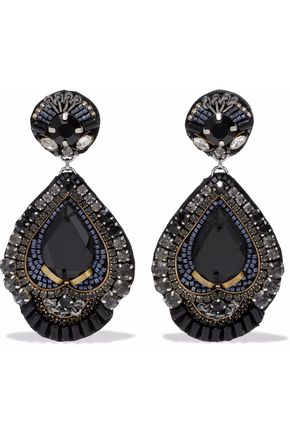 RANJANA KHAN Burnished gold-tone, crystal and bead clip earrings