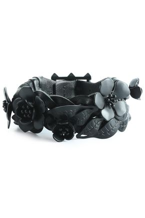 VALENTINO Floral-appliquéd braided leather bracelet