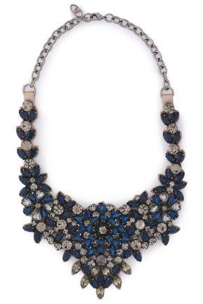 VALENTINO Gunmetal-tone crystal necklace