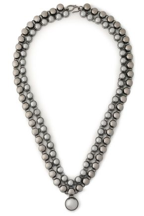 VALENTINO Gunmetal-tone and bead necklace