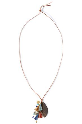 CHAN LUU Leather, stone, gold-tone and tassel necklace