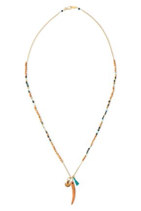 CHAN LUU Gold-tone, bead, bone and tassel necklace