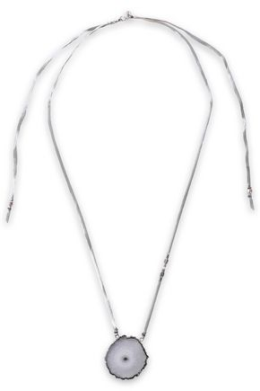 CHAN LUU Sterling silver, quartz and leather necklace