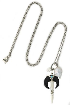 CHAN LUU Silver-tone, faux mother-of-pearl and stone necklace