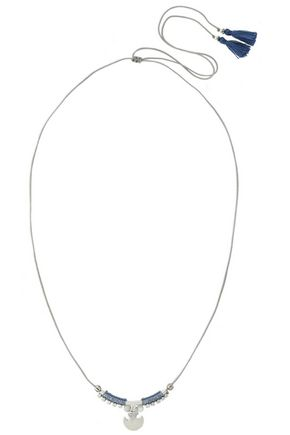 CHAN LUU Tasseled silver-tone and stone necklace