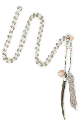 CHAN LUU Silver-tone, faux mother-of-pearl and bead necklace