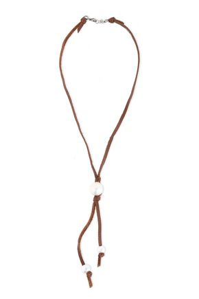 CHAN LUU Sterling silver, leather and freshwater pearl necklace