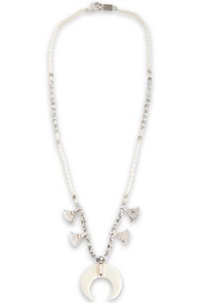 CHAN LUU Silver-tone, bone and stone beaded necklace