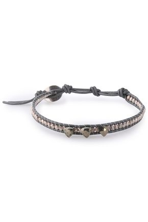CHAN LUU Cord, sterling silver and pyrite bracelet