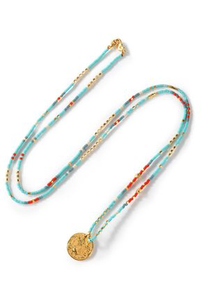 CHAN LUU Bead and gold-tone necklace