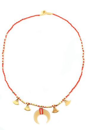 CHAN LUU Gold-tone, horn, bead and cord necklace