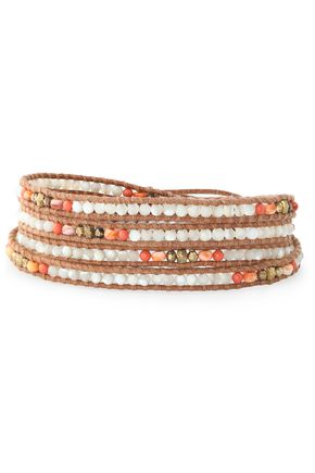 CHAN LUU 18-karat gold-plated, leather, pearl and stone bracelet