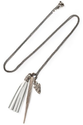 CHAN LUU Silver-tone and leather necklace