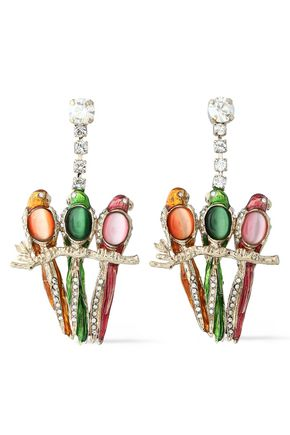 VALENTINO Gold-tone acetate and crystal earrings