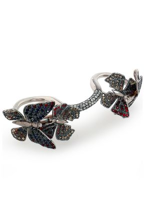 VALENTINO GARAVANI Silver-tone and crystal multi-finger ring