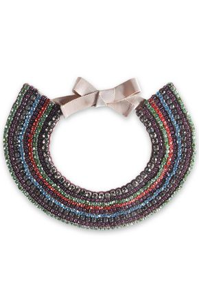 VALENTINO GARAVANI Crystal, bead and satin necklace
