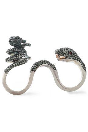 VALENTINO GARAVANI Silver-tone crystal ring
