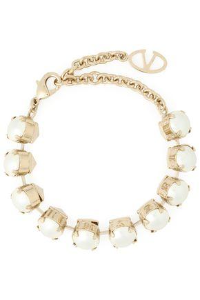VALENTINO Gunmetal-tone faux pearl bracelet