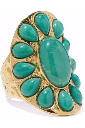 AURÉLIE BIDERMANN 18-karat gold-plated turquoise ring