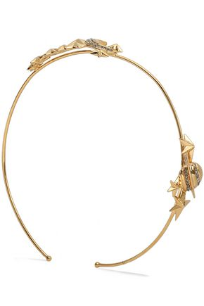 VALENTINO Gold-tone and crystal headband