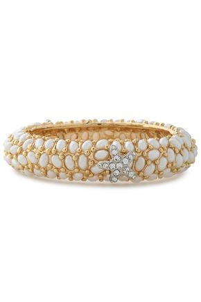KENNETH JAY LANE Gold-tone crystal and faux pearl bracelet