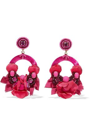 RANJANA KHAN Raffia, pompom, bead and crystal clip earrings